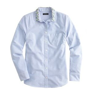 J. Crew Peter Pan Chambray Beaded Collar Shirt 8 M